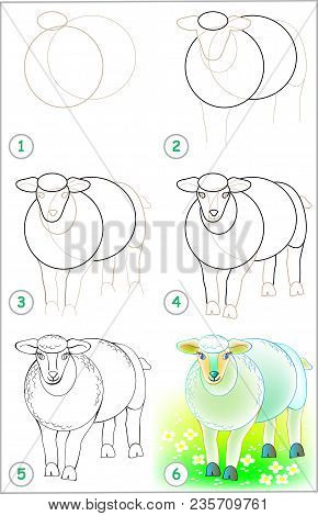 Page Shows How To Learn Step By Step To Draw A Sheep. Developing Children Skills For Drawing And Col
