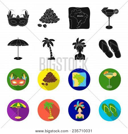 Brazil, Country, Umbrella, Beach . Brazil Country Set Collection Icons In Black, Flet Style Vector S