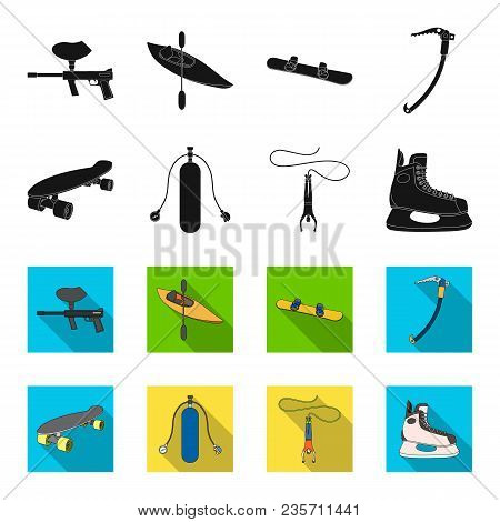 Skateboard, Oxygen Tank For Diving, Jumping, Hockey Skate.extreme Sport Set Collection Icons In Blac