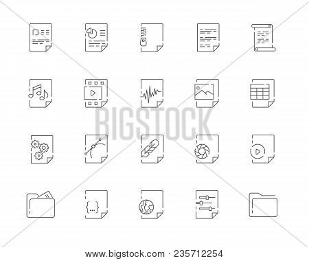 Simple Set Of File Types Vector Line Web Icons. Contains Such Icons As Document Doc, Presentation Pp