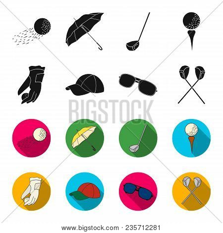 A Glove For Playing Golf With A Ball, A Red Cap, Sunglasses, Two Clubs. Golf Club Set Collection Ico