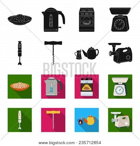 Kitchen Equipment Black, Flet Icons In Set Collection For Design. Kitchen And Accessories Vector Sym