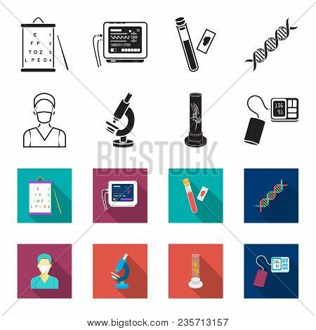 Plant In Vitro, Nurse, Microscope, Tonometer. Medicine Set Collection Icons In Black, Flet Style Vec