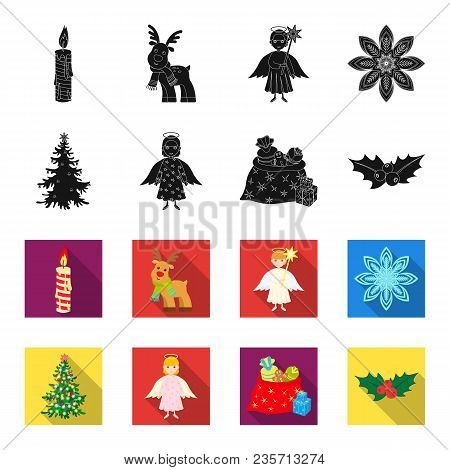 Christmas Tree, Angel, Gifts And Holly Black, Flet Icons In Set Collection For Design. Christmas Vec