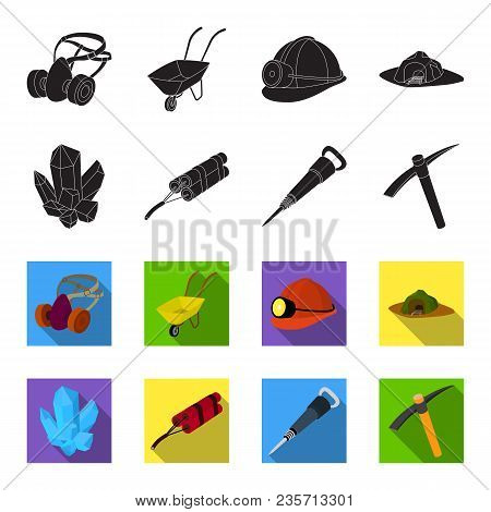 Minerals, Explosives, Jackhammer, Pickaxe.mining Industry Set Collection Icons In Black, Flet Style
