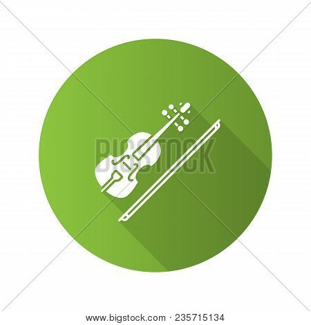 Violin Flat Design Long Shadow Glyph Icon. Fiddle. Vector Silhouette Illustration