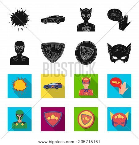 Man, Mask, Cloak, And Other  Icon In Black, Flet Style.costume, Superman, Superforce Icons In Set Co