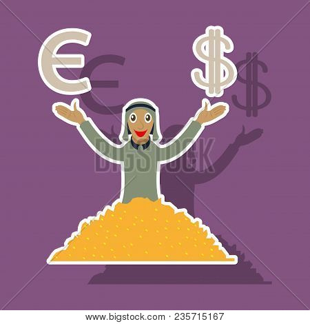 Realistic Paper Sticker On Theme Arabic Business Arabic Businessman With Money