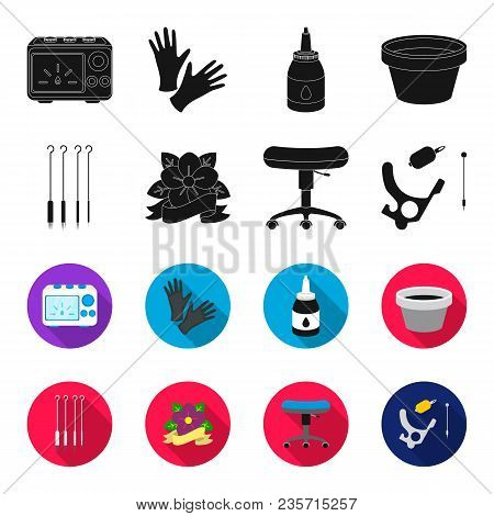 Chair On Rollers, Needles For Tattoo And Other Equipment. Tattoo Set Collection Icons In Black, Flet
