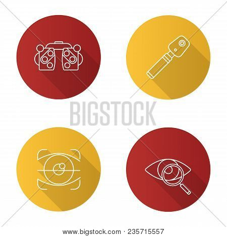 Ophtalmology Flat Linear Long Shadow Icons Set. Phoropter, Ophthalmoscope, Retina Scan, Eyesight Tes