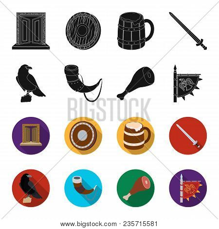 Sitting Crow, Horn With Drink, Ham, Victory Flag. Vikings Set Collection Icons In Black, Flet Style