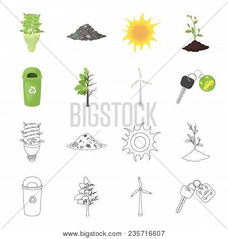 A Garbage Can, A Diseased Tree, A Wind Turbine, A Key To A Bio Car.bio And Ecology Set Collection Ic