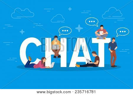 Chat Concept Illustration. Young People Using Mobile Gadgets Such As Tablet Pc And Smartphone For Te