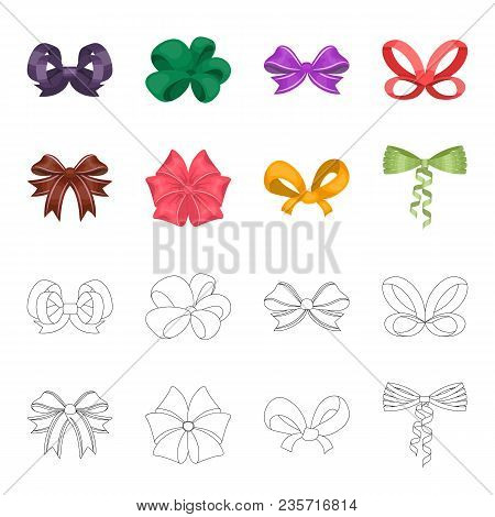 Bow, Ribbon, Decoration, And Other  Icon In Cartoon, Outline Style. Gift, Bows, Node Icons In Set Co