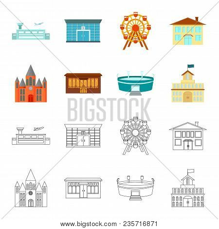 House Of Government, Stadium, Cafe, Church.building Set Collection Icons In Cartoon, Outline Style V