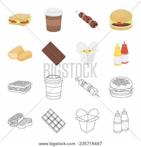 Chocolate, Noodles, Nuggets, Sauce.fast Food Set Collection Icons In Cartoon, Outline Style Vector S