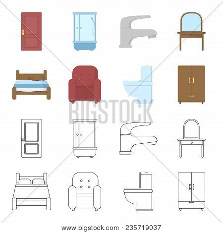 A Bed, An Armchair, A Toilet, A Wardrobe.furniturefurniture Set Collection Icons In Cartoon, Outline