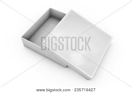 White 3d Rendering Blank Open Rectangular Box With Box Separate Lid, Isolated Gray Background