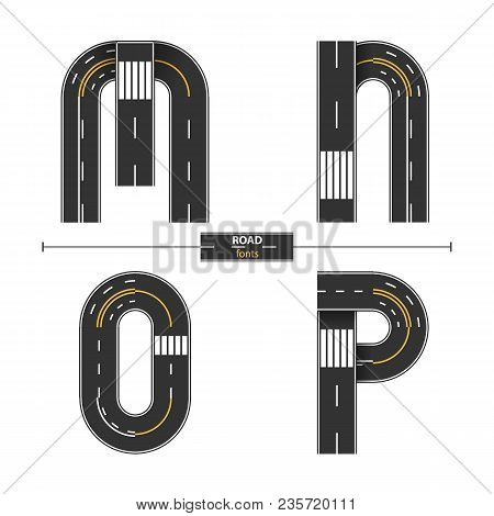Alphabet In A Set M,n,o,p, Road With White And Yellow Line Markings On White Background
