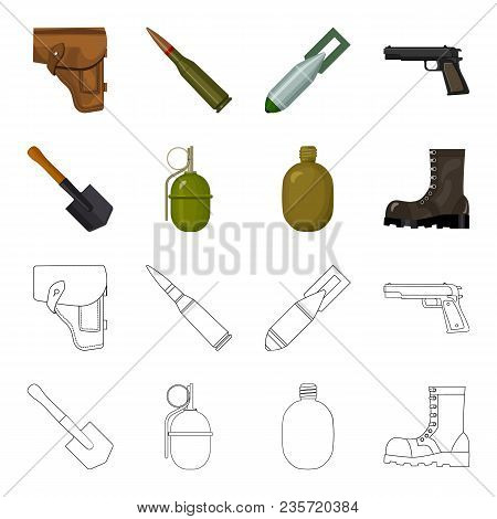 Sapper Blade, Hand Grenade, Army Flask, Soldier Boot. Military And Army Set Collection Icons In Cart