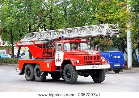 Ufa, Russia - September 16, 2011: Old Fire Ladder Zil-131 Al-30 In The City Street.
