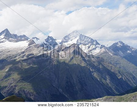Beauty Alpine Mountains Range Landscapes In Swiss Alps At Switzerland, Picturesque Rocky Scenery See