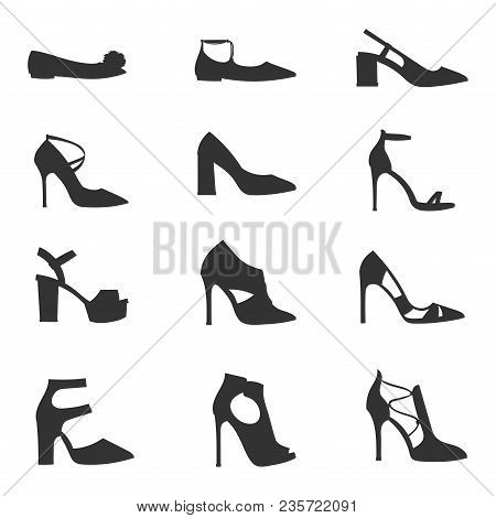 Womens Shoes Flat Design Vector Silhouette Footwear Collection Hand Drawn Style Of Leather Colored M