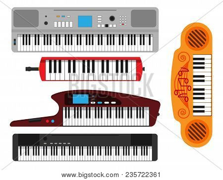 Keyboard Musical Instruments Vector Classical Piano Melody Studio Acoustic Shiny Musician Equipment