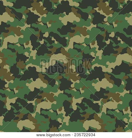 Green Color Abstract Camouflage Seamless Pattern Background. Modern Military Style Camo Art Design B