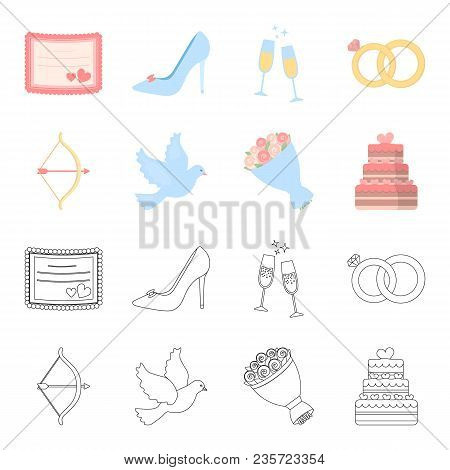 Arrow Cupid, Dove, Bouquet Of Flowers, Wedding Cake. Weddin Gset Collection Icons In Cartoon, Outlin