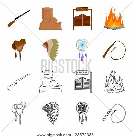 Saddle, Indian Mohawk, Whip, Dream Catcher.wild West Set Collection Icons In Cartoon, Outline Style