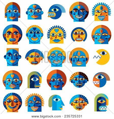 Mythic Creatures Collection, Vector Modern Art. Set Of Fantastic Odd Characters Expressing Different