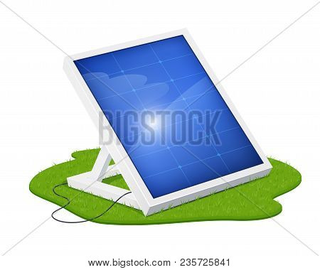 Solar Panel For Alternative Energy. Eco System. Isolated White Background. Sun Technology. Green Ele
