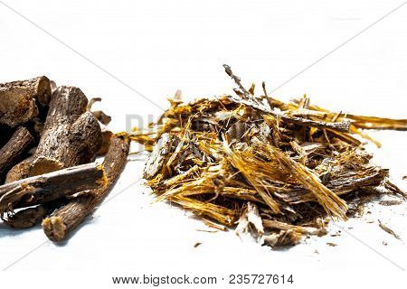 Close Up Of Ayurvedic Herb Liquorice Root,licorice Root, Mulethi Or Glycyrrhiza Glabra Root With Its