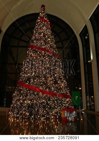 Willis Tower (formerly Sears Tower) Giant Christmas Tree Illuminated With Christmas Light And Adorne
