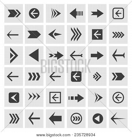Arrowheads Icons. Vector Arrow Glyphs Or Arrowhead Signs For Navigation, Websites And Buttons