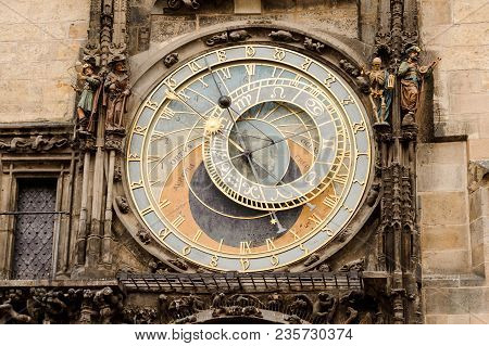 Prague, Czechia - October 18, 2017: Prague Astronomical Clock. The Prague Astronomical Clock Is A Me
