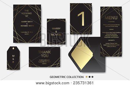 Wedding Invitation, Invite Card Design With Geometrical Art Lines, Gold Foil Border, Frame. Vector M