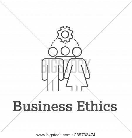 Business Ethics Solid Icon with people sharing ideas. poster