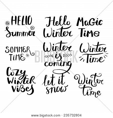 Season Greetings. Set Of Hand Drawn Vector Lettering Phrases. Modern Motivating Calligraphy Decor Fo