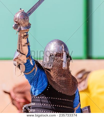 Goren, Israel, April 06, 2018 : Knight - Participant In Knight Festival Welcomes Spectators Before T