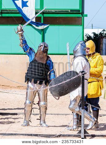 Goren, Israel, April 06, 2018 : Knight Winner - Participant Of The Knight Festival  Celebrates Victo
