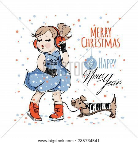 Pretty Girl In Blue Dress And Headphones Listening Music And Dances Near Dachshund Dog In A Piano Su