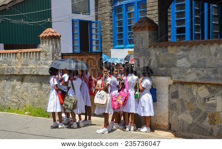 Galle, Sri Lanka, Asia, July 29, 2013. Unknown People, Children Go To The Beginning Of School