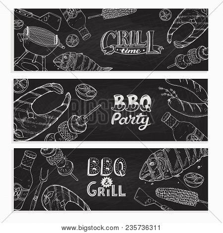 Bbq And Grill Banners With Sketch Objects. Hand Drawn Barbecue Elements Around Decorative Text. Bbq