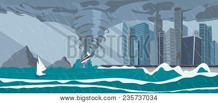 Tornado Incoming From Sea Hurricane In Ocean Huge Waves On Business City Buildings On Coast Natural