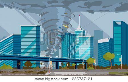 Swirling Tornado In City Destroy Buildings Hurricane Danger Huge Wind Waterspout Storm Natural Disas