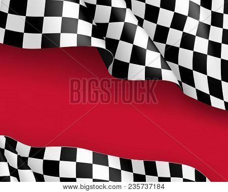 Racing Flag Canvas Realistic Red Background. Symbol Marking Start And Finish. Vector Illustration
