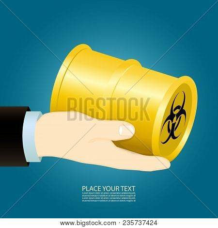 Hand Holds A Chemical Bomb. Can Be Used In Different Arts, As Brochure, As Illustration In Journals,