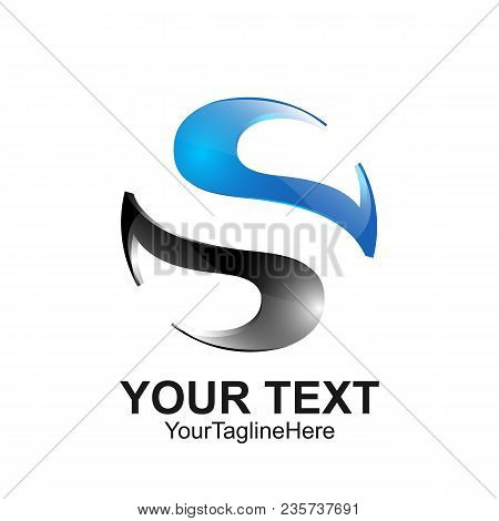 Letter S Logo Design Template Colored Blue Grey Yin Yang Design For Business And Company Identity. A